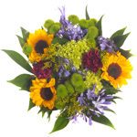 Bridal Centerpieces Purple Flowers and Sunflowers