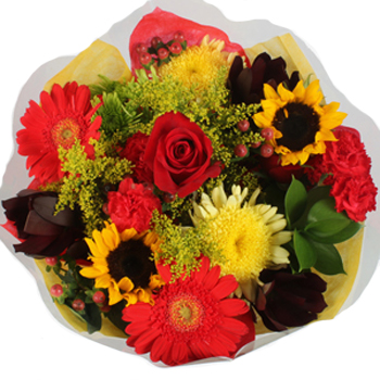 Bridal centerpieces fresh yellow and red flowers - Red and yellow centerpieces ...