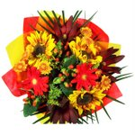 Bridal Table Arrangements Yellow and Red Flowers