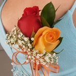Classic Rose Red and Orange Boutonniere and Corsage Wedding Package