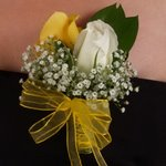 Classic Rose Yellow and White Boutonniere and Corsage Wedding Package