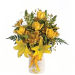 Valentines 4 Flower Bouquets Cupid Yellow