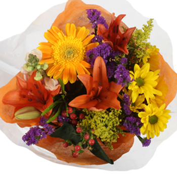 Discount Centerpieces Hot Pink, Orange and Yellow Flowers