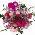 12 Valentine Table Arrangement Pink and Red Musical Hearts
