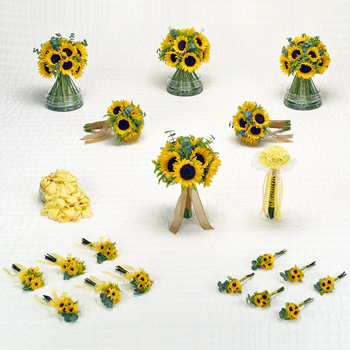 Sunflower Wedding Flowers Box - 20 Package