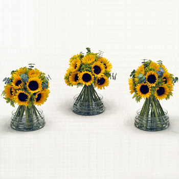 Sunflower Wedding Flowers Box - 3 Table