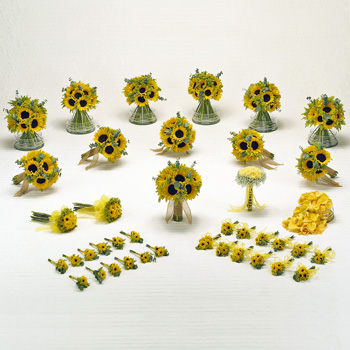 Sunflower Wedding Flowers Box - 40 Package